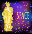 beautiful greek goddess on space background the vector image