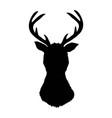 black silhouette of deers head with antlers vector image