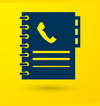 blue phone book icon isolated on yellow background