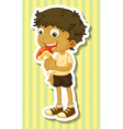 Boy eating vector image vector image