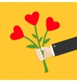 Businessman hand holding bunch bouquet of heart vector image vector image