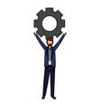 businessman holding gear vector image