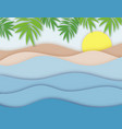 calm sea view in summer 3d layered paper cut vector image vector image