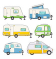 camping trailers set vector image vector image
