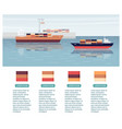 cargo export shipping banner with ships flat vector image vector image