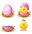 Cartoon funny chicken and pink egg in a nest vector image vector image