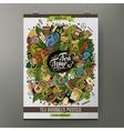 Cartoon hand drawn doodles Tea poster vector image vector image