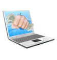 cash fist laptop concept vector image vector image