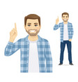 casual man pointing up vector image vector image