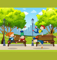 children practice street dance at park vector image vector image
