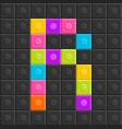 colorful brick block letter r flat design vector image vector image