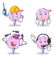 cotton candy character set with automotive silent vector image