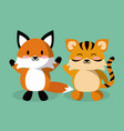 cute fox and tiger cartoon vector image