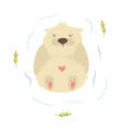 cute funny otter floating in a river vector image vector image