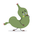 cute green stomach character unhappy pain emotion vector image vector image