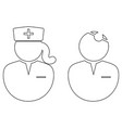 doctor and nurse outline icon black and white vector image