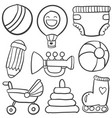 doodle of object baby collection vector image vector image