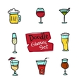doodle style glasses icons set Hand drawn vector image vector image