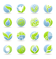 Drops and leaves - logo template set vector image