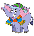 elephant in winter clothes vector image