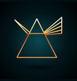 gold line light rays in prism icon isolated vector image vector image