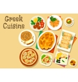 Greek cuisine healthy lunch icon for food design vector image vector image
