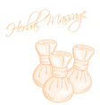 hand drawn of isolated herbal compress massage vector image vector image