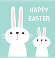 happy easter two white bunny rabbit set cute vector image