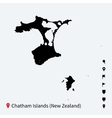 High detailed map of Chatham Islands with vector image