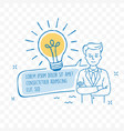idea lightbulb and businessman doodle icon vector image vector image
