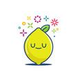 kawaii lemon fruit emoticon cartoon vector image