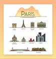line art Paris France travel landmarks icon set vector image vector image