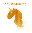 magic unicorn golden head logo template vector image