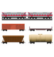 modern train with various trailers for natural vector image vector image