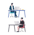 office workers man and woman colleagues laptops vector image vector image