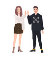 pair of smiling young man and woman dressed in vector image vector image