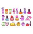 perfume cosmetics nail polish lipstick lip vector image