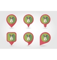 Rabbit mapping pins icons vector image vector image
