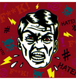 Retro hater man with angry face swearing vector image vector image