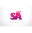 Sa s a letter logo with pink purple color and vector image