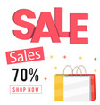 sales 70 shop now shopping bag background vector image vector image