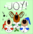 Singing Christmas Carollers Card Design vector image