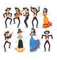 skeletons in mexican national costumes and vector image