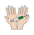 syringe hands shot vaccination injection medicine vector image
