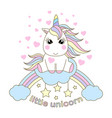 white cartoon unicorn sitting on a rainbow vector image