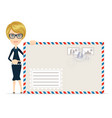 woman in formal suit pointing to an envelope with vector image vector image
