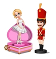 Wooden soldier toy and music box with ballerina vector image vector image