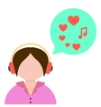 girl listening to music with green speech bubble vector image
