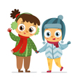 Happy girl and boy in winter coats isolated on vector image