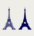 eiffel tower silhouette and sketched icons vector image